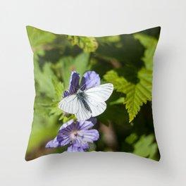 White Moth Photography Print Throw Pillow