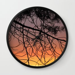 Purple Sunset At The Mountains III Wall Clock