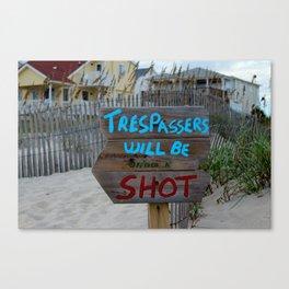 Funny Beach Sign Canvas Print