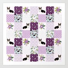 Tricolored Corgi Patchwork - feminine floral, florals corgis, dog lover, dog design, cute dogs Art Print