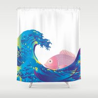 hokusai Shower Curtains featuring Hokusai Rainbow & Jpanese Snapper  by FACTORIE