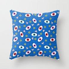 Hungry - eyes retro grid throwback 1980s minimal modern pattern print wacko designs neon  Throw Pillow