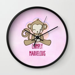Chimply Marvelous Cute Monkey Pun Wall Clock