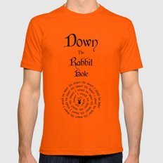 Alice In Wonderland Down The Rabbit Hole Mens Fitted Tee Orange SMALL