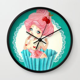 Cupcake Girl Wall Clock
