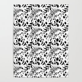 Black tropical floral leaves hand painted illustration Poster