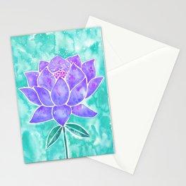 Sacred Lotus – Lavender Blossom on Mint Palette Stationery Cards