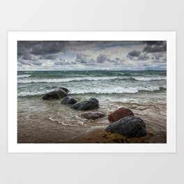 Waves crashing on the shore at Wilderness Park in Sturgeon Bay Lake Michigan Art Print