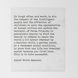To Laugh Often And Much, Success, Ralph Waldo Emerson Quote. Throw Blanket