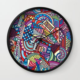 Colorful ethno pattern design Wall Clock