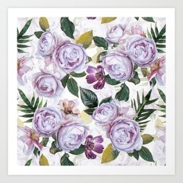 Vintage & Shabby Chic - Antique Purple Botancial Summer Roses Art Print