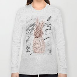 Rose Gold Pineapple on Black and White Marble Long Sleeve T-shirt