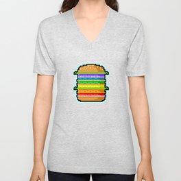 Pixel Hamburger Unisex V-Neck