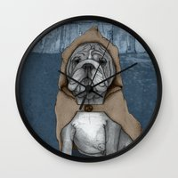 english bulldog Wall Clocks featuring English Bulldog in Stonehenge by Barruf