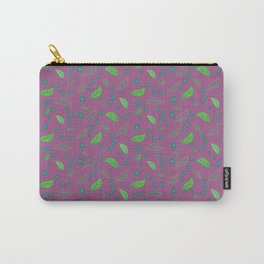 Abstract leaves with flowers on purple Carry-All Pouch