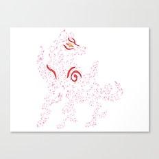 Okami Amaterasu - Cherry Blossom Form [WHITE] Canvas Print