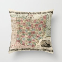 Colton's township map of the State of Ohio (1851) Throw Pillow