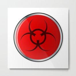 Red Bio Hazard Emergency Button Metal Print