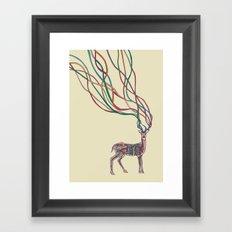Deer Ribbons Framed Art Print