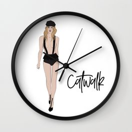 Girl on catwalk Wall Clock