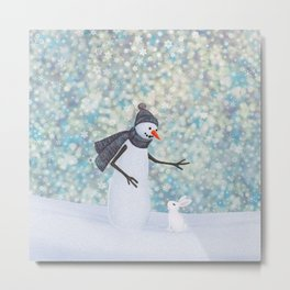 snowman and white rabbit Metal Print