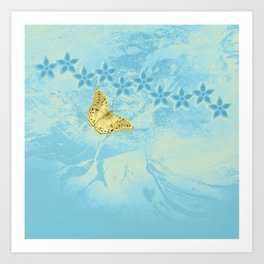 butterfly and flowers in an abstract blue grunge landscape Art Print