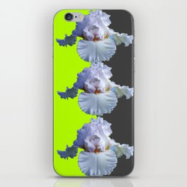 MODERN WHITE IRIS DIVIDED CHARTREUSE & GREY ART iPhone Skin