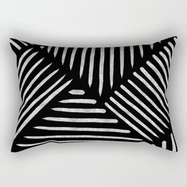 Lines and Patterns in Black and White Brush Rectangular Pillow