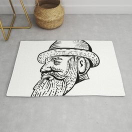 Hipster Wearing Bowler Hat Etching Black and White Rug