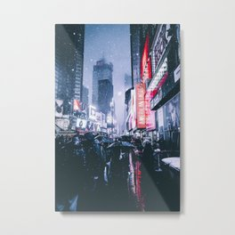 NYC Neon Winter Metal Print