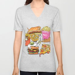 Cats & Junk Food Unisex V-Neck