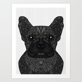French Bulldog in black Art Print