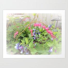 Floral Fantasy Bleeding Hearts and Bluebells Art Print