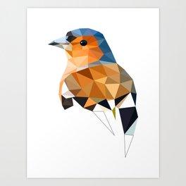 Chaffinch Bird art Geometric artwork Orange brown and blue Art Print