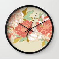 party Wall Clocks featuring garden party by Teagan White