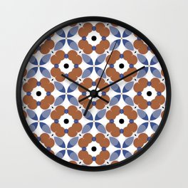 Moroccan Tile - poppy Wall Clock