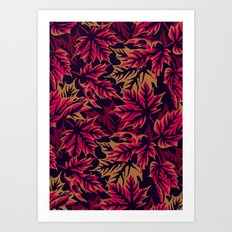 Leaves - Maroon/beige Art Print