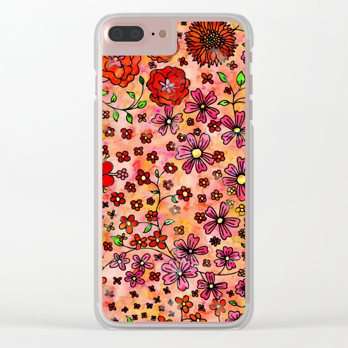 Orange Small Flowers Clear iPhone Case