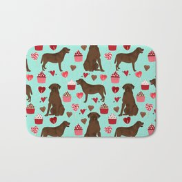 Chocolate Labrador Retriever valentines day cupcakes love hearts dog gifts labs Bath Mat