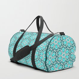 Symmetrical Flower Pattern in Turquoise Duffle Bag