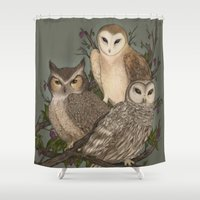owls Shower Curtains featuring Owls by Jessica Roux