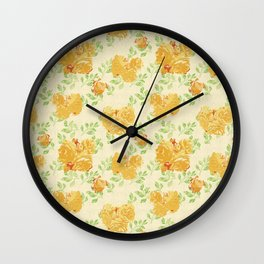Watercolor rose pattern Wall Clock