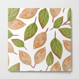 Autumn Watercolor Brown and Green Fall Leaves Metal Print