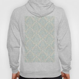 Vintage chic blue ivory floral damask pattern Hoody