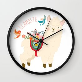 Llamaste - When A Llama Offers You A Respectful Greeting Wall Clock