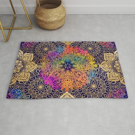 Bohemian 1960's Mandala Pattern of Joy Rug