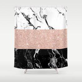 Modern black white marble rose gold color block stripes pattern Shower Curtain