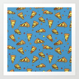 Cute Happy Smiling Pizza Pattern on blue background Art Print