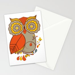 Abstract Colorful Floral Owl, Cute Owl Sticker, Terracotta Colors, Orange Yellow Gray And  Brown Stationery Cards