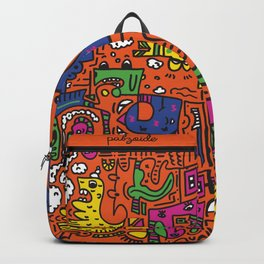 Orange Doodle Monster World Backpack